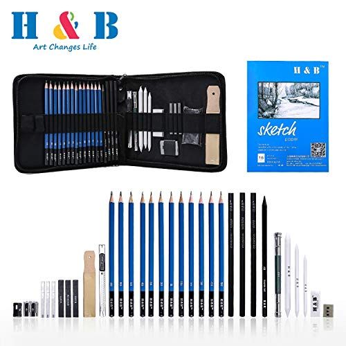 Materials Drawing Pencil (H & B Sketching Pencils Set Drawing and Sketch Kit 33-Piece Set with Pencils,Erasers,Graphite Stick,Sandpaper Block,Pencil Sharpener)