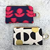 Keychain Coin Purse Wallet for Women, Handmade Key Holder Slim Pocket Purse, Mini Zipper Bag, Red Flowers, Circles, Geometric