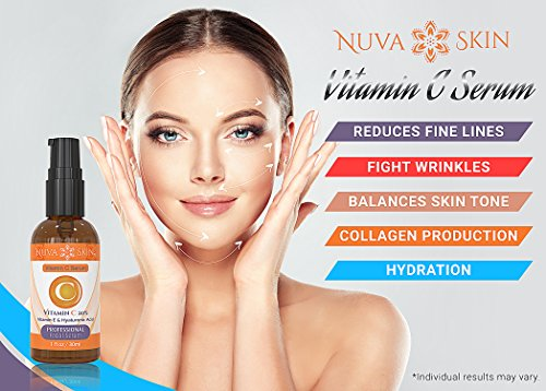 51yYbR7I32L - Nuva Skin Vitamin C Serum for Face and Eyes w/Hyaluronic Acid & Liquid Vitamin E - Natural Anti Aging, Anti Wrinkle Facial Treatment - Antioxidant Moisturizer for Acne, Scars & Even Skin Tone
