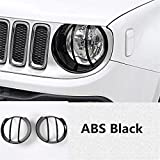 Dwindish Black ABS Car Head Lamp Covers Trim for Jeep Renegade 2015 Up