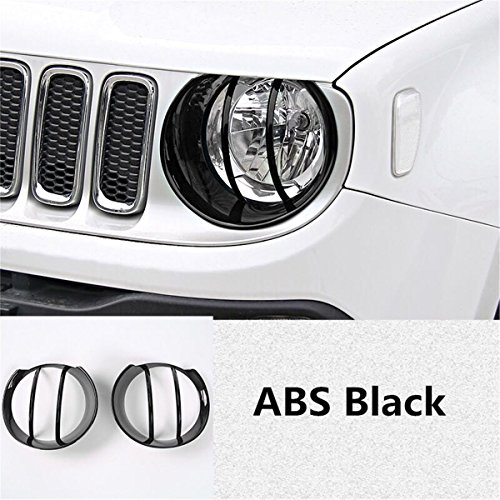 Dwindish Black ABS Car Head Lamp Covers Trim for Jeep Renegade 2015 Up by Dwindish