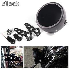 """Specification: Type: motorcycle headlight bucket/ honda headlight housing/ motorcycle headlight mounting bucket Material: Aluminum Alloy Housing: Black Size: 6.5 INCH ( 6-1/2"""") Package: . 1 x Motorcycle Headlight Housing . 1 x 5.75 Headlight ..."""