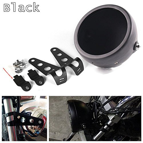 - HOZAN Black 5.75inch Motorcycle LED Headlight Housing 5-3/4 LED Headlight Mount for Harley Honda Suzuki Kawasaki Vulcan Cruiser Bike Cafe racers
