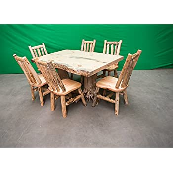 amazon com rustic white cedar log dining table 6 chairs set