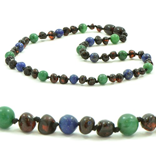 The Art of Cure Baltic Amber & Semi-Stone Baby Teething Necklace - Many to Choose From 12.5 inches (Cherry/Lapis/Jade) (Jade Cherry)