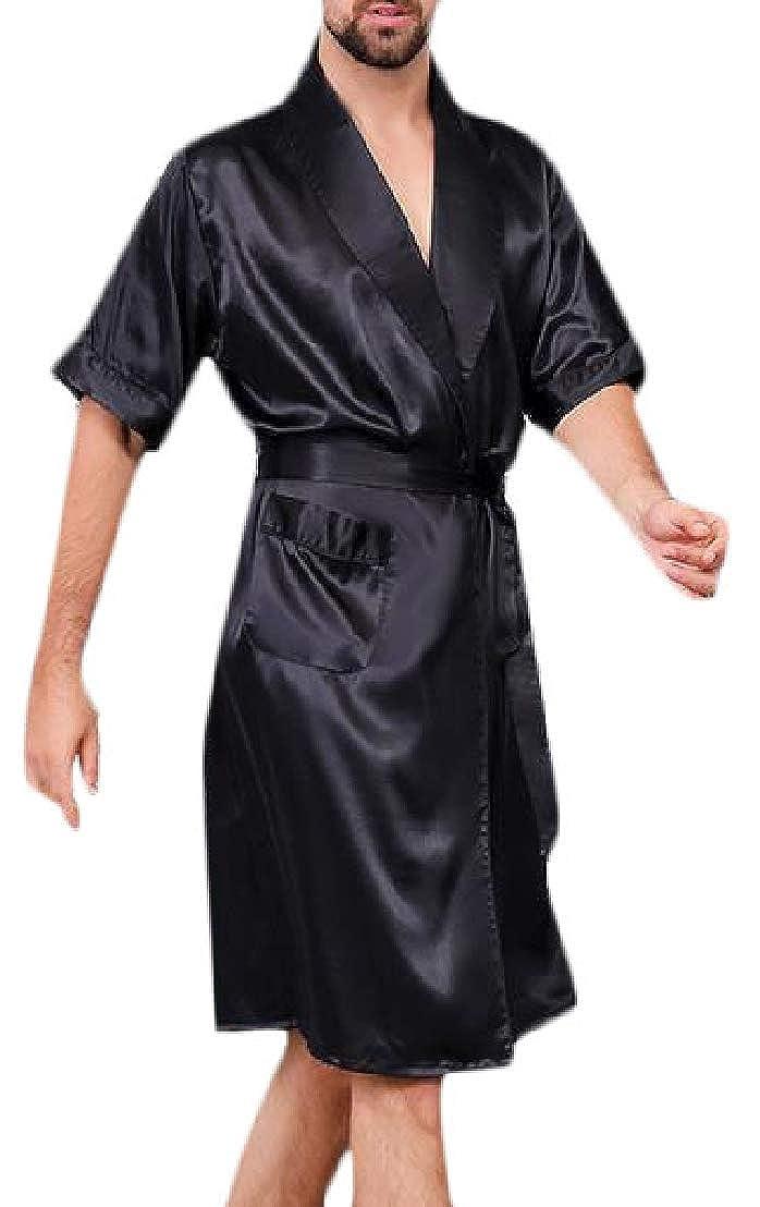 Wofupowga Mens Homewear Silk Short Sleeve Kimono Bathrobe 2 Piece Robe