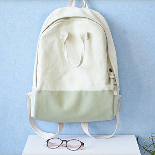 BAGEHUA 女の子、こぢんまりとした新鮮な、バックパック、キャンバスバッグ、学生用バッグ、トラベルバッグ、 4 色オプション B076KQHQRT  Milky white
