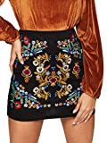SheIn Women's Casual Floral Embroidered Bodycon Short Mini Skirt Black L