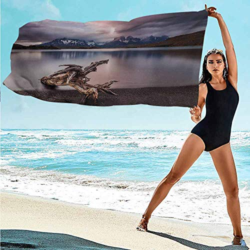 FreeKite Driftwood Polyester Microfiber Bath Towel Driftwood on The Coast with Reflection of The Mountains in The Lake Digital Image Bathroom Travel/Fitness/Swimming W11.8 x L35.4 Inch Redwood