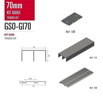 Kit de Guias para armario Adinor GSO-GI70 ANODIZADO INOX BRILLO REPULIDO 2 m