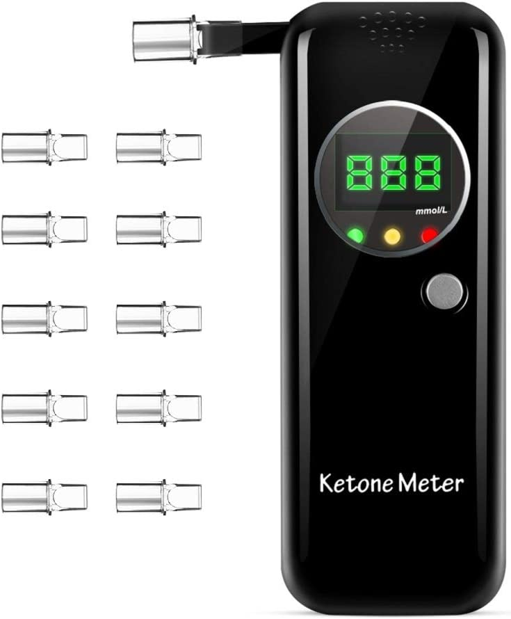 Ketone Breath Testing Meter for Ketosis Testing for Family Use with 10 Replaceable Mouthpieces