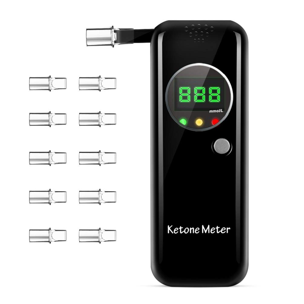 Ketone Breath Testing Meter for Ketosis Testing for Family Use with 10 Replaceable Mouthpieces by Lencool