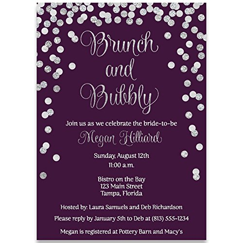Bridal Shower Invitations, Plum, Purple, Silver Confetti, Glitter, Sparkle, Wedding Shower, Champagne Brunch, Personalized, Set of 10 Custom Printed Invites with Envelopes, Brunch & Bubbly, Vertical