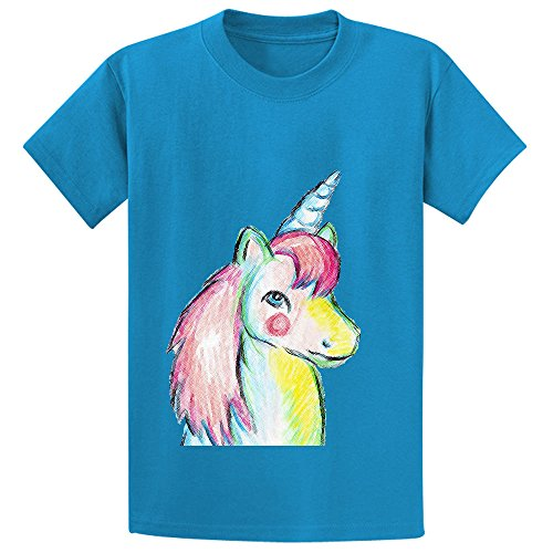 Price comparison product image Mcol Unicorn Pony Kid's Crew Neck Personalized Shirts Blue