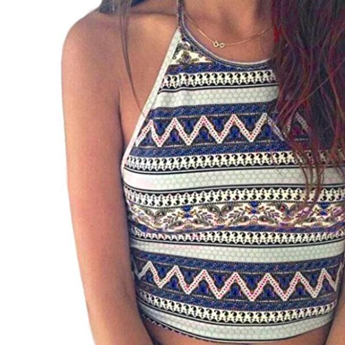 Vest, Mchoice Women Tank Tops Bustier Bra Vest Crop Bralette Shirt Blouse (L, Blue)