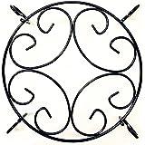 "Amagabeli Garden 10"" Round Black Iron Plant Stands, Scroll Pattern"