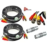 ACELEVEL 2 PACK PREMIUM 100Ft.THICK BNC EXTENSION CABLES FOR LOREX SYSTEMS BLACK