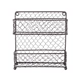 diy countertop spice rack DII Z01446 2 Tier Vintage Metal Chicken Wire Spice Rack Organizer for Kitchen Wall, Pantry, Cabinet or Counter, Small/9.5