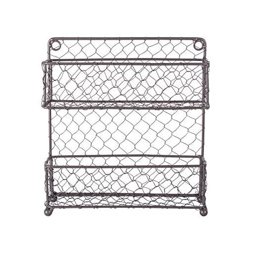 Kitchen DII Farmhouse Vintage Decorative Metal Pantry Organizer, 9.45Lx2.3Wx10H, 2 Tier Spice Rack-Rustic spice racks