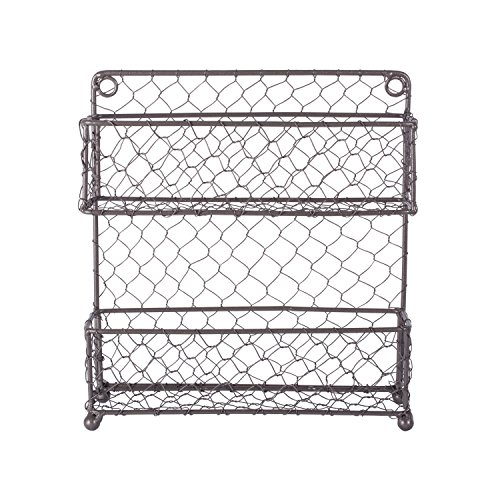Home Traditions 2 Tier Vintage Metal Chicken Wire Spice Rack Organizer for Kitchen Wall, Pantry, Cabinet or Counter, Rustic Antique Finish - smallkitchenideas.us