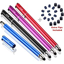 Bargains Depot Capacitive Stylus / Styli 2-in-1 Universal Touch Screen Pen for All Touch Screen Tablets & Cell Phones with 20 Extra Replaceable Soft Rubber Tips (Pack of 4)