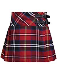 Girls Tartan Pleated Billie Kilt Miniskirt Classical School Uniforms Skirts