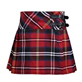CHICTRY Girls' Kid Basic School-wear Bottoms Plaid Pleated Scooter with with Faux Leather Buckle 001Red 6