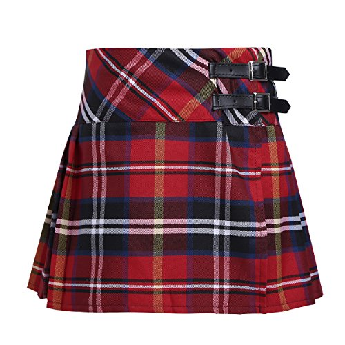 Freebily Kids Girls Classical School Uniforms Skirts Costumes A-Line Pleated Tartans Plaid Skater Scooter Schoolwear Red 4