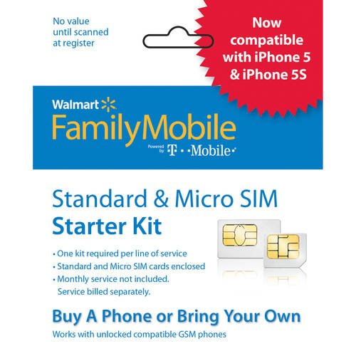 Walmart Family Mobile Standard and Micro SIM Card Starter Kit (by T-Mobile)