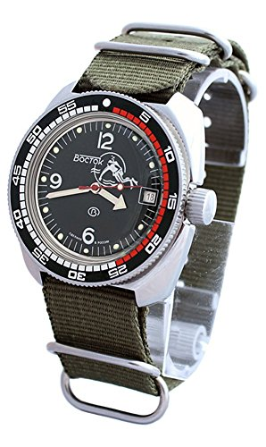 - AMPHIBIA 200m VOSTOK AUTOMATIC MECHANICAL WATCH WITH CUSTOM BEZEL !NEW! 2416/710634 (green)