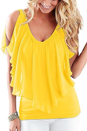 Con cuello en v hueco de las mujeres a blusas moda T camisas Yellow