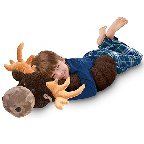 Pillow Pets BodyPillars Chocolate Moose  - 30'' Cozy Stuffed Animal Plush Body Pillow