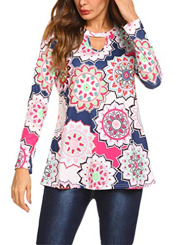 Floral Pleated Blouse - Womens Tops for Work, Floral Printed V Neck Pleated Casual Blouse PAT2 XXL