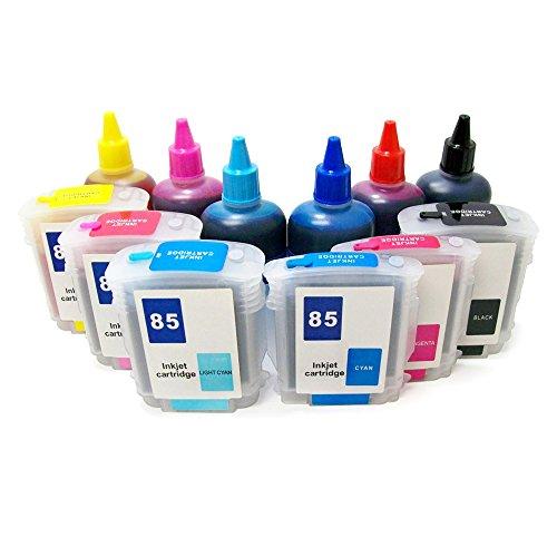 Refillable Ink Cartridge Kit with Ink Bottle Set for HP 84 85 DesignJet 30 30n 90 90gp 90n 130 130gp 130nr 130r (HP84/HP85)