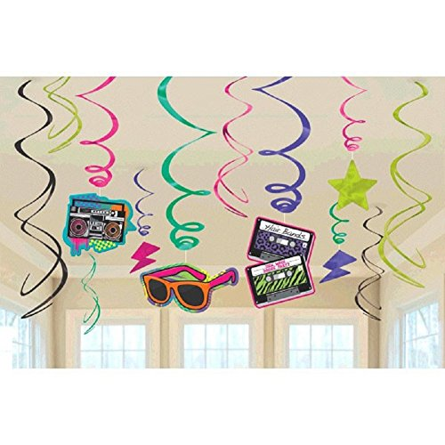 Amscan 670152 Awesome 80's Party Swirl Decorating Kit, Foil (12 Pack), Multi Color; Assorted (Awesome Decorations)