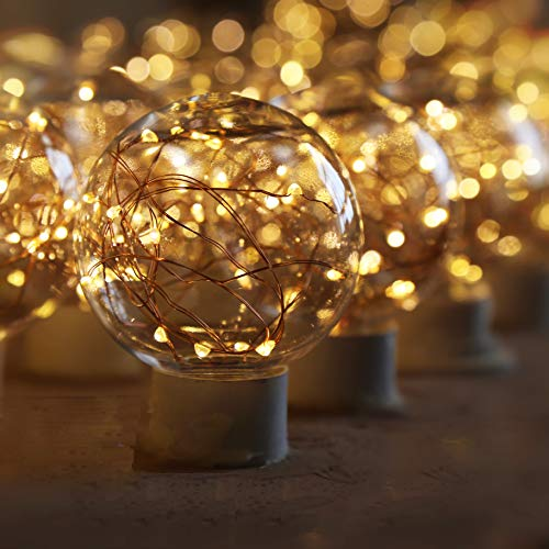 LED Decorative Bulbs,LED Globe Fairy Light Bulb for Ambient Night Lighting, E26 Standard Medium Base Edison with Starry Decorative String Lights for Bathroom, Bedroom, Living Room(Fairy Bulb-4 Pack)