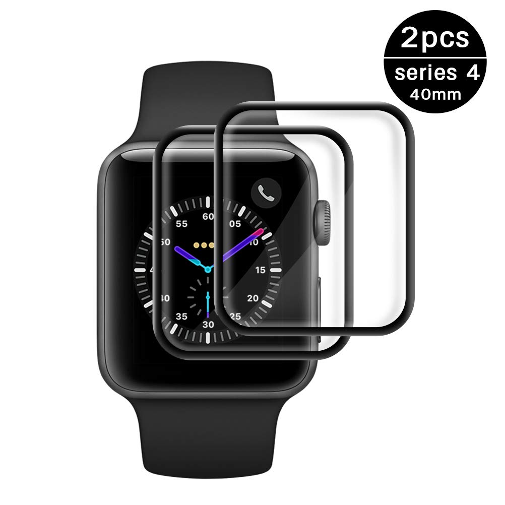 Etmury Screen Protector for Apple Watch Series 4 40mm, [2 - Pack] Tempered Glass Screen Protector, Anti-Scratch Resistant Full Coverage Scratch-Proof Screen Film Compatible iWatch 4/ iPhone Watch 4 by Etmury
