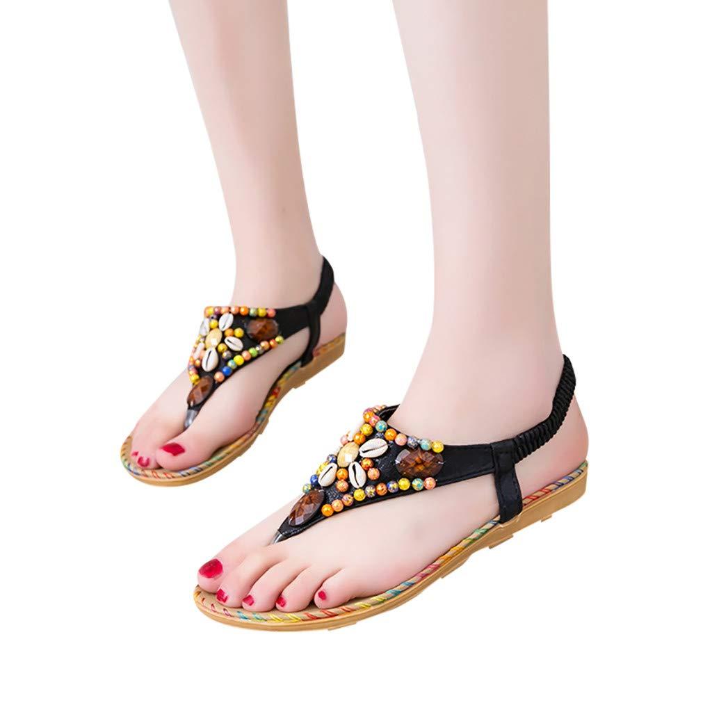 2019 Women's Solid Color Flat Sandals Comfortable Rhinestone Herringbone Casual Peep Toe Beach Sandals (Black, 5.5)
