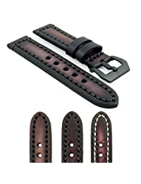 StrapsCo 20mm Vintage Thick Leather Watch Band in Dark Brown with Heavy Duty Stitching and Matte Black Pre V Buckle