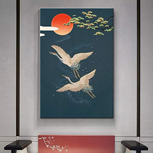 Chinese Element Elegant Red Crowned Crane Painting Wall Bedroom Living Room ation
