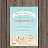 Shells at the Beach Bridal Shower invitation in Blue and Coral, Couples Shower, Destination Wedding Invitation, Ocean Shower Invitation