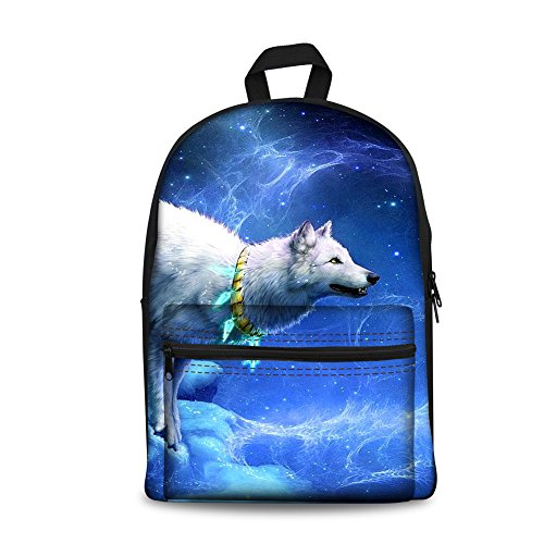 FOR U DESIGNS Mens Travel Daypack Canvas Durable Children Schoolbags Wolf Printed Book Backpack by FOR U DESIGNS