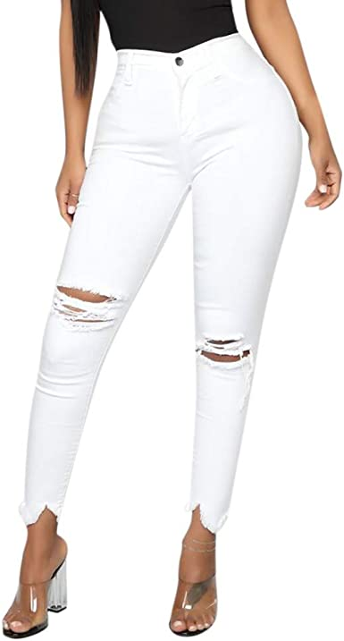 La Mujer Casual Jeans De Cintura Alta Pantalones De Dril De ...