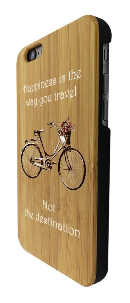 C0120 - Vintage Bicycle Happiness Is The Way You Travel Design iphone SE - 2016 / iphone 5 5S Coque Natural Véritable Bois Real Wood Coque