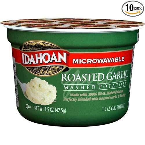 Idahoan Roasted Garlic Mashed Potato Cup, 1.5 Ounce - 10 per case.