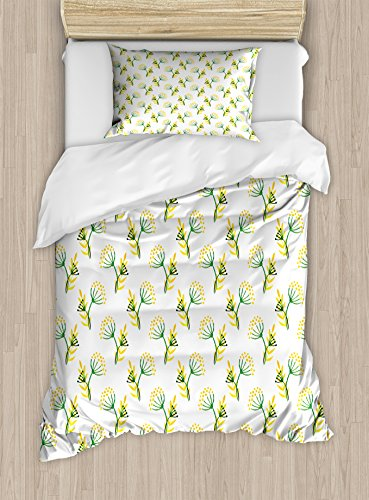 Lunarable Green and Yellow Twin Size Duvet Cover Set, Watercolor Herbal Corolla Flower Hand Drawn Spring Illustration, Decorative 2 Piece Bedding Set with 1 Pillow Sham, Fern Green Yellow Corolla Pillow
