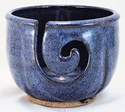 Midnight Sun Pottery Yarn Bowl – Blue Violet with Raspberry