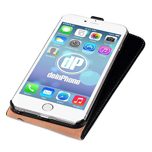 iPhone 6 Plus / 6s Plus Set beschichtetes Leder Flip Case Schutz Hülle Schwarz + Panzerglas Displayschutz