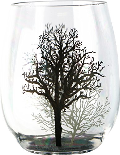 Corelle Coordinates by Reston Lloyd Timber Shadows Acrylic Stemless Wine Glasses, Set of 4, 16 oz., Clear