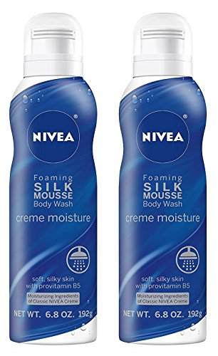 (Nivea Foaming Silk Mousse Body Wash - Creme Moisture - Soft, Silky Skin With Provitamin B5 - Net Wt. 6.8 OZ (192 g) Per Can - Pack of 2 Cans)